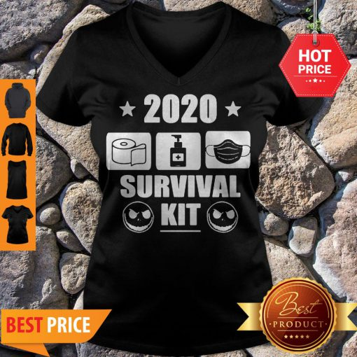 2020 Survival Kit Coronavirus Jack Skellington V-neck