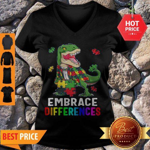 T-Rex Dinosaur Puzzle Piece Autism V-neck