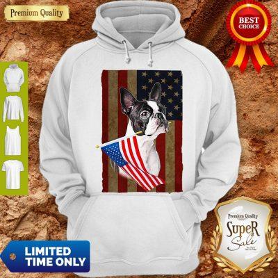 Boston Terrier America Flag Dog Lovers Hoodie