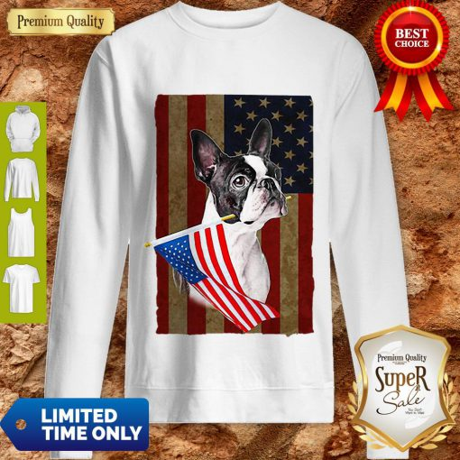Boston Terrier America Flag Dog Lovers Sweatshirt