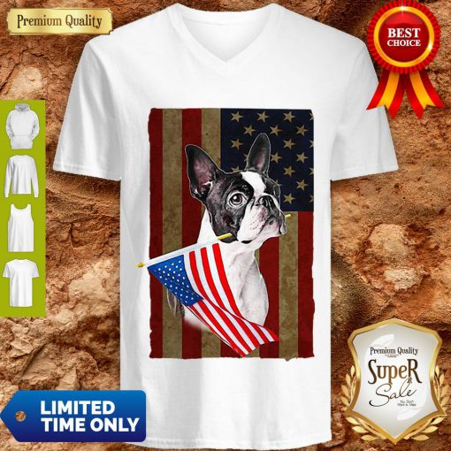 Boston Terrier America Flag Dog Lovers V-neck