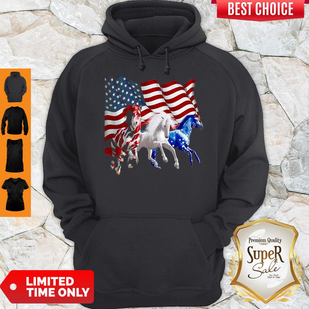 Awesome Horses American Flag Hoodie