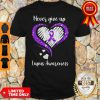 Awesome Never Give Up Lupus Awareness Heart Shirt