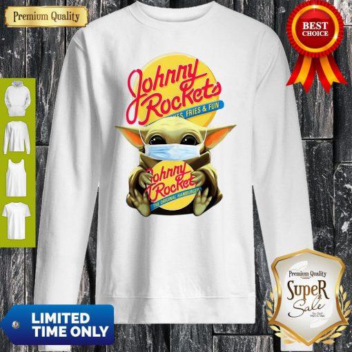 Star Wars Baby Yoda Mask Hug Johnny Rockets Hamburger Covid-19 Sweatshirt