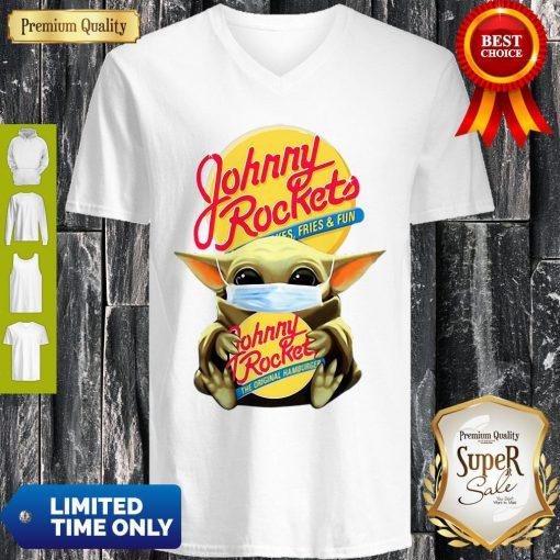 Star Wars Baby Yoda Mask Hug Johnny Rockets Hamburger Covid-19 V-neck