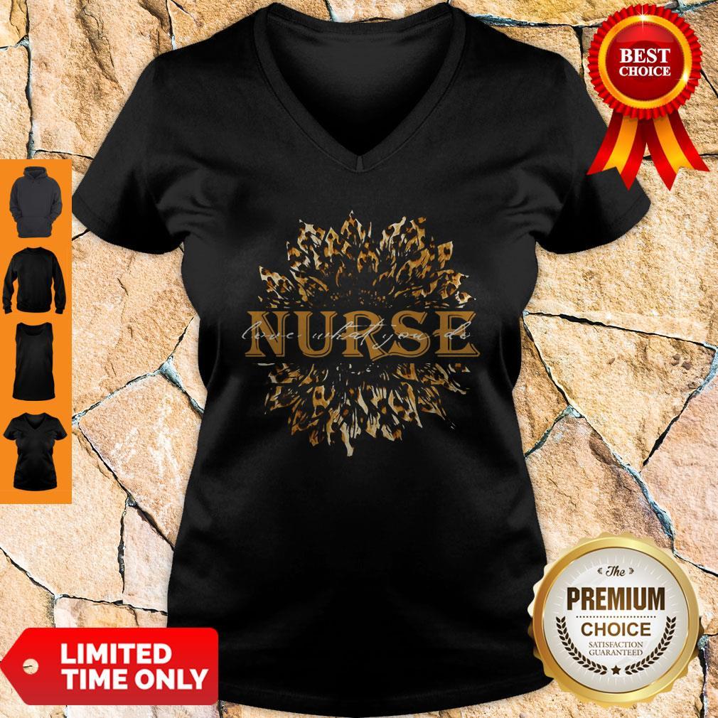 Sunflower Leopard Nurse Love What You Do V-neck