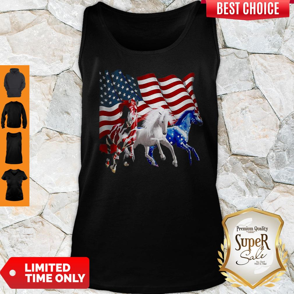 Awesome Horses American Flag Tank Top