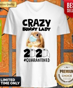 Crazy Bunny Lady Mask 2020 Quarantined Coronavirus V-neck