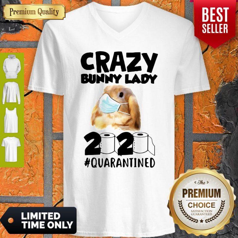 Crazy Bunny Lady Mask 2020 Quarantined Coronavirus V-neck