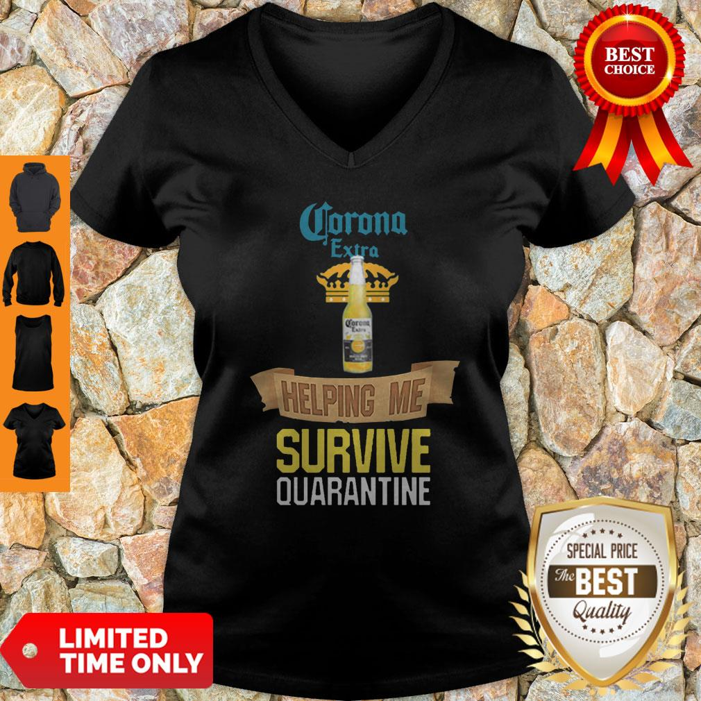 Official Corona Extra Beer Helping Me Survive Quarantine V-neck