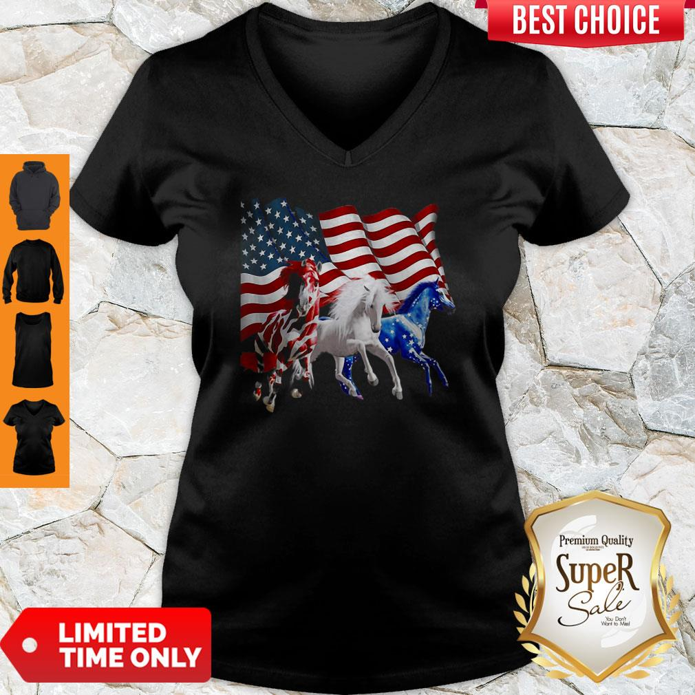 Awesome Horses American Flag V-neck