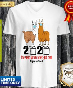 Premium Lama 2020 The Year When Shit Got Real Quarantined V-neck