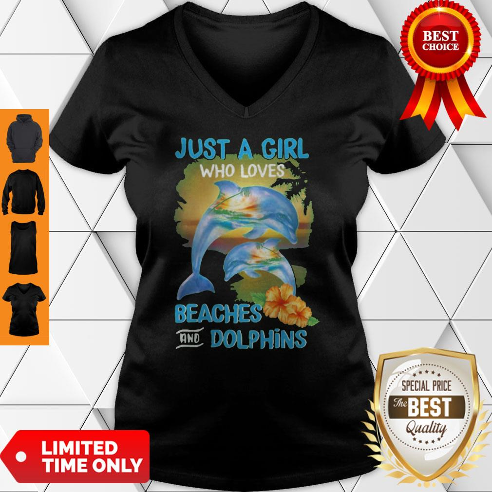 Funny Just A Girl Who Loves Beaches And Dolphins V-neck