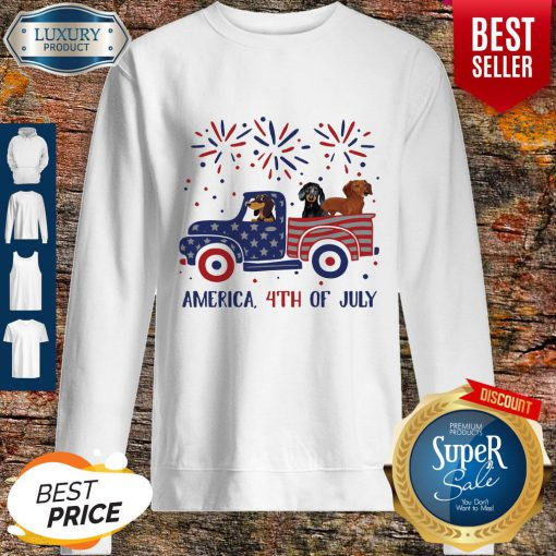 Dachshunds On The Car 4th Of July American Flag Sweatshirt