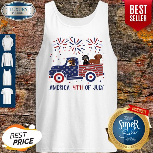 Dachshunds On The Car 4th Of July American Flag Tank Top