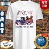 Dachshunds On The Car 4th Of July American Flag V-neck