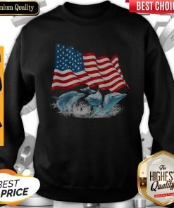 Dolphins American Flag Independence Day Sweatshirt