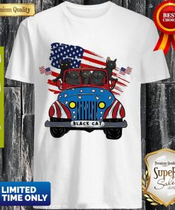 Official Black Cats Driving Car American Flag Shirt