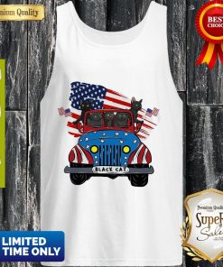 Official Black Cats Driving Car American Flag Tank Top
