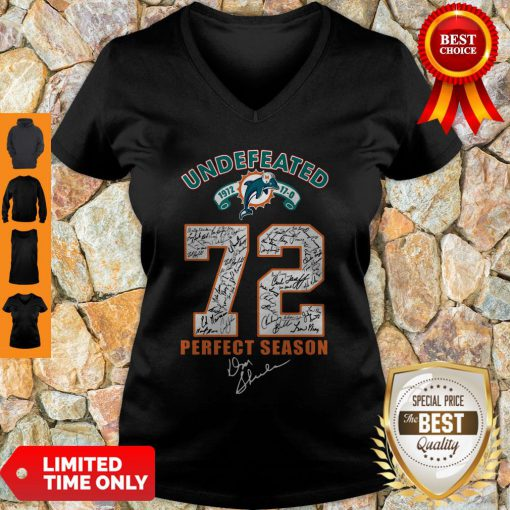 Official Miami Dolphins Undefeated 1972 72 Perfect Season Signatures V-neck