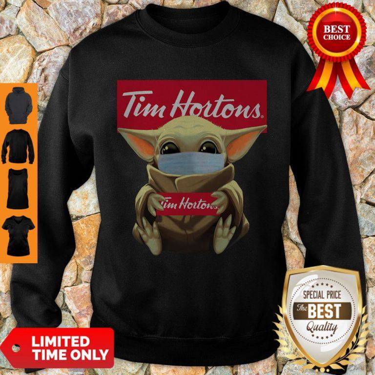 Nice Baby Yoda Face Mask Hug Tim Hortons Sweatshirt