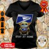 Official Baby Yoda Face Mask Hug Us Postal Service I Can't Stay At Home V-neck