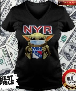 Baby Yoda Face Mask Hug New York Rangers V-neck