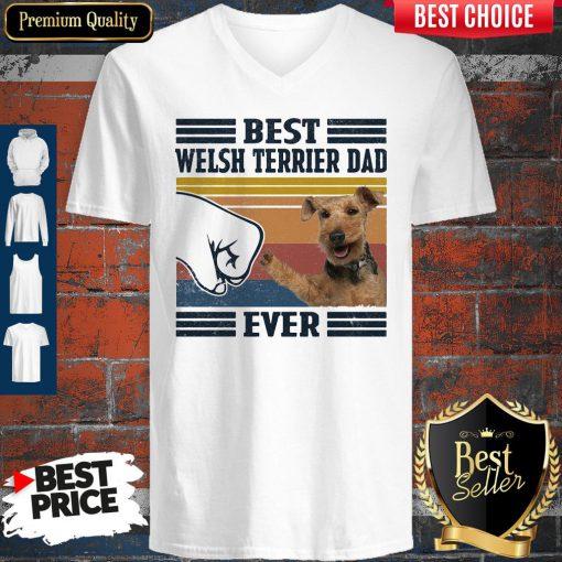 Best Welsh Terrier Dad Ever Vintage V-neck