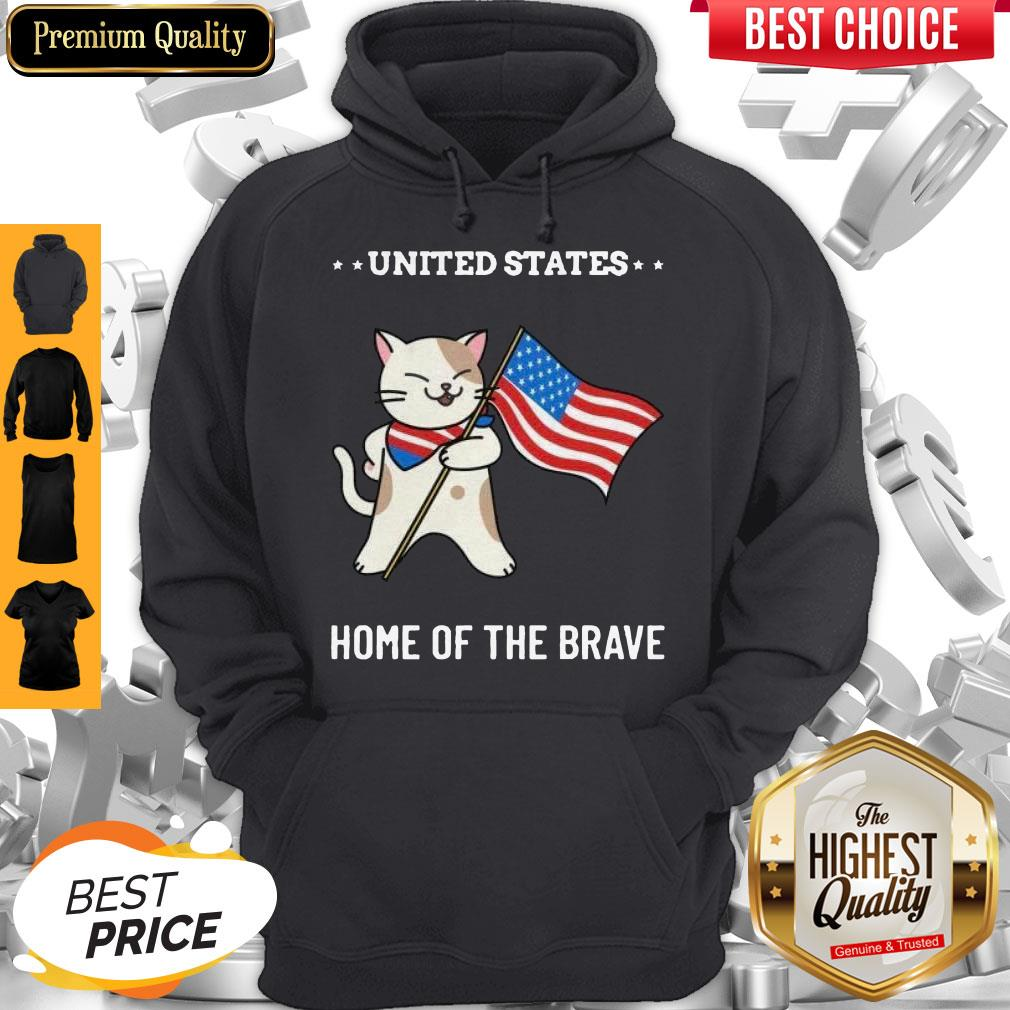 Cat United States Home Of The Brave Hoodie