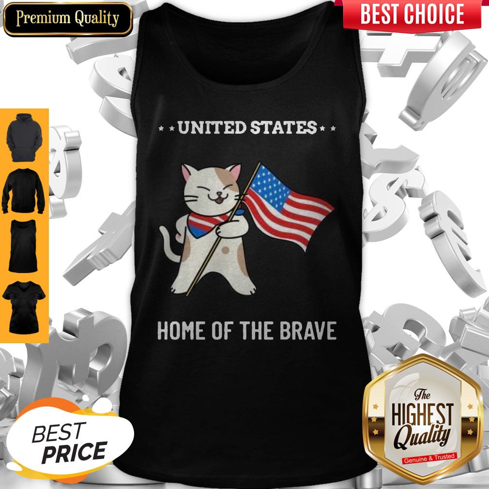 Cat United States Home Of The Brave Tank Top