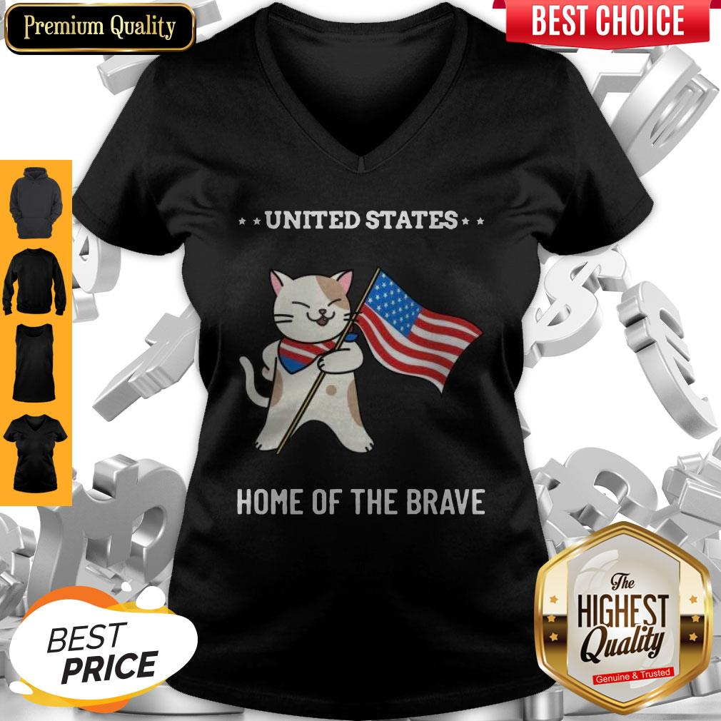 Cat United States Home Of The Brave V-neck
