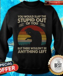 Cat You Would Slap The Stupid Out Of You But There Wouldn_t Be Anything Left Vintage Sweatshirt