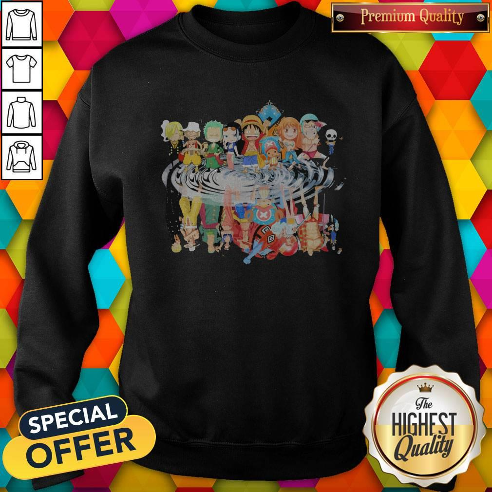 Chibi Characters One Piece Reflection Water Mirror Sweatshirt