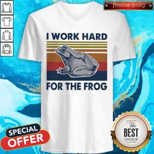 I Work Hard For The Frog Vintage V-neck
