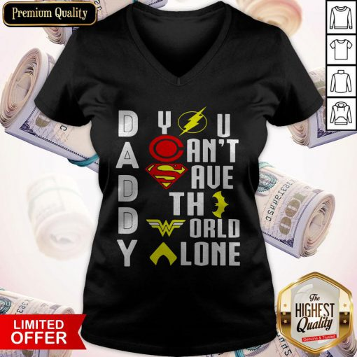 Marvel Heroes Daddy You Can't Save The World Alone V-neck