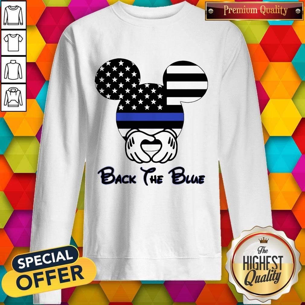Mickey Mouse American Flag Back The Blue Sweatshirt