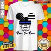 Mickey Mouse American Flag Back The Blue V-neck