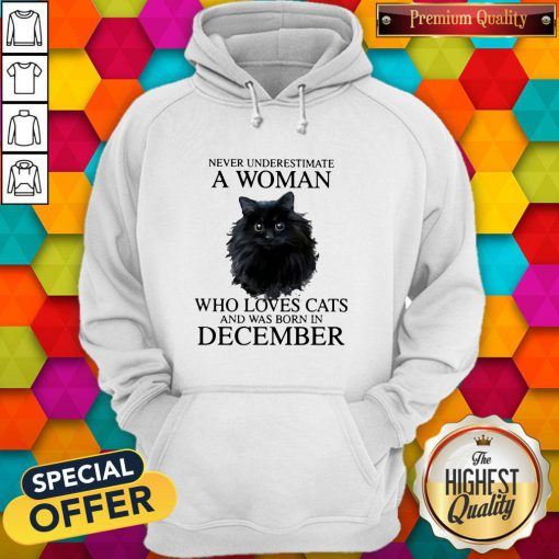 Never Underestimate A Woman Who Loves Cats And Was Born In December Hoodie