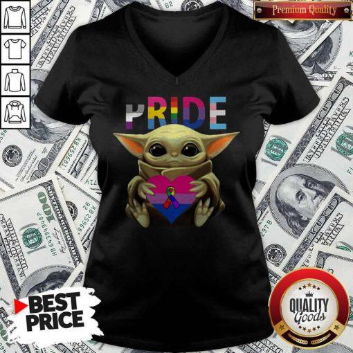 Pride Baby Yoda Hug Heart Awareness V-neck