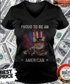 Proud To Be A Cat American Flag Veteran Independence Day V-neck