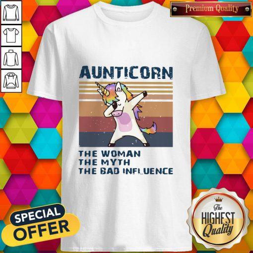 Unicorn Dabbing Aunticorn The Woman The Myth The Bad Influence Vintage Shirt
