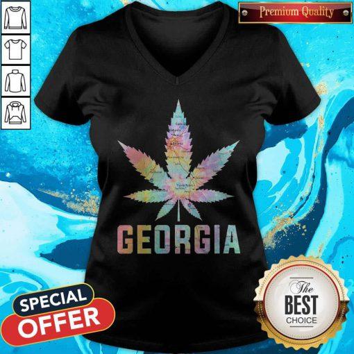 Weed Marijuana Georgia To Map V-neck