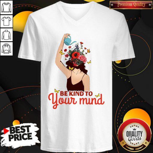 Be Kind To Your Mind Mental Health Flower Girl V-neck