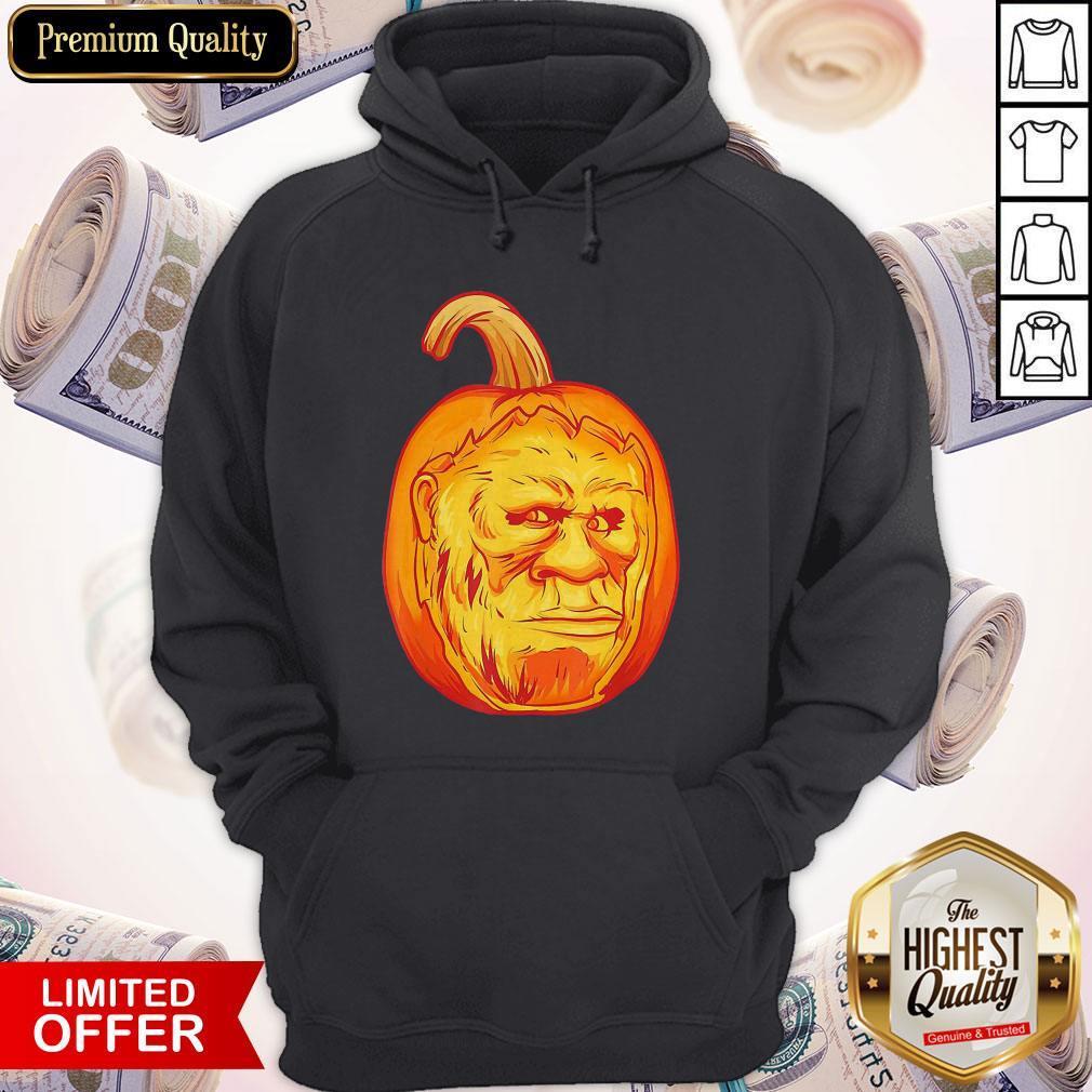 Bigfoot Carved Pumpkin Sasquatch Jack O' Lantern Halloween Hoodie