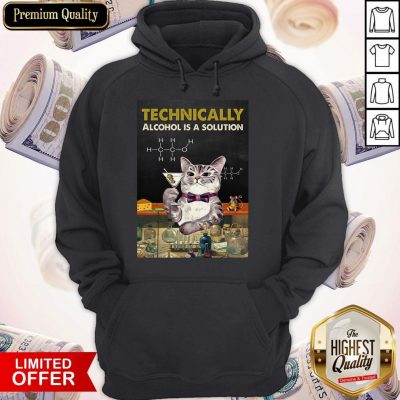 Cat Technically Alcohol Is A Solution Hoodie