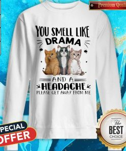 Cats You Smell Like Drama And A Headache Please Get Away From Me Sweatshirt