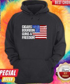 Cigars Whiskey Guns And America Flag Hoodie