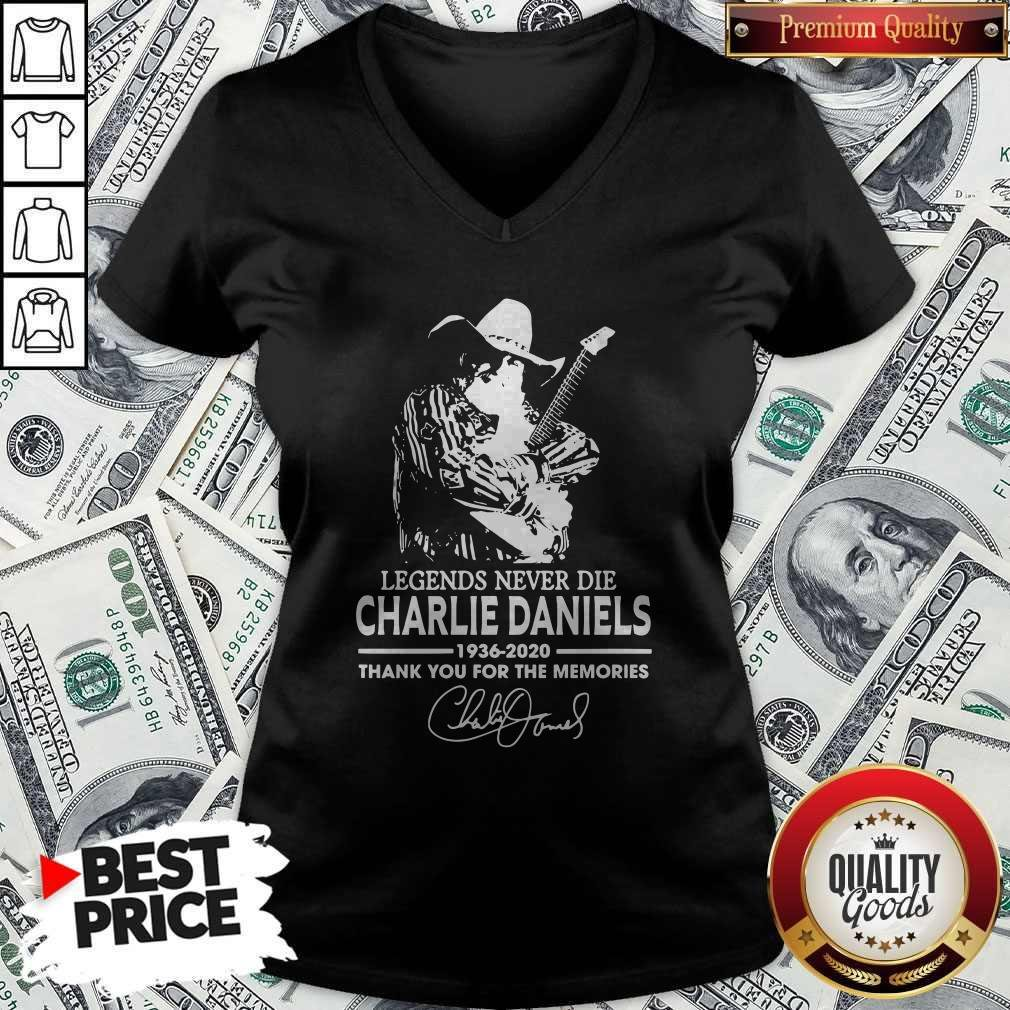 Legends Never Die Charlie Daniels 1936-2020 Thank You For The Memories Signature V-neck