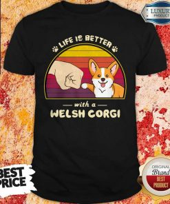 Life Is Better With A Siberian Corgi Hand Footprint Vintage Retro Shirt
