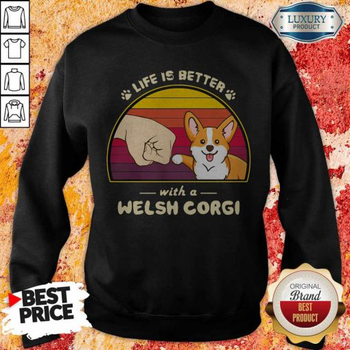 Life Is Better With A Siberian Corgi Hand Footprint Vintage Retro Sweatshirt